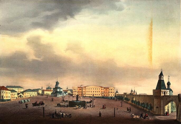 1. Струков Д. М. Вид Лубянской площади и бывший дом господинана Шипова. 1856 год
